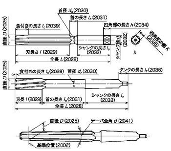 図3(基準位置・首部・全長・刃長・首径・首の長さ・シャンク径・シャンクの長さ・四角部の長さ・四角部の幅・タングの長さ・食付きの長さ・テーパ全角)