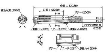 図9(ボデー・全長・刃長・シャンクの長さ・植込み溝・ブレード・調整ナット)