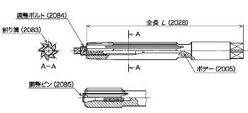 図8(ボデー・全長・割り溝・調整ボルト・調整ピン)