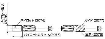 図6(パイロット・パイロットの長さ・パイロット径・ガイド・油溝)